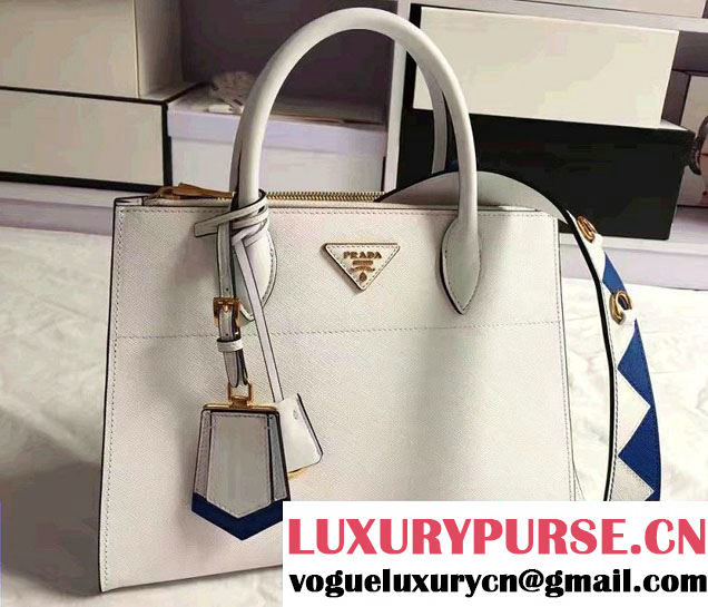 Prada Paradigme Saffiano And Calf Leather Bag 1BA102 White/Sea Blue With Embellishments On The Shoulder Strap 2017
