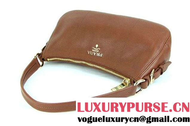Prada Calf Leather Shoulder Bag BR4690 Brown
