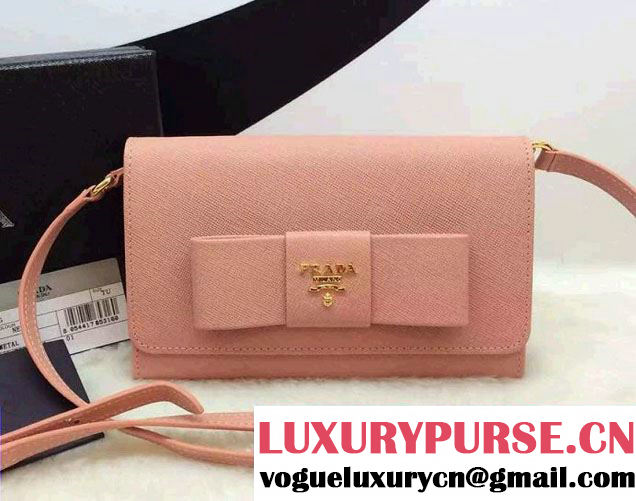 Prada Saffiano Leather Bow Wallet with Shoulder Strap 1M1437 Nude Pink 2015/2016