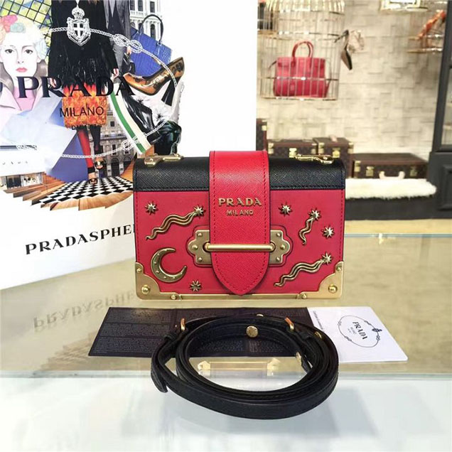 Prada Cahier Astrology Shoulder Bag Calfskin Leather 18cm Fall Winter 2016 Bag Collection Red