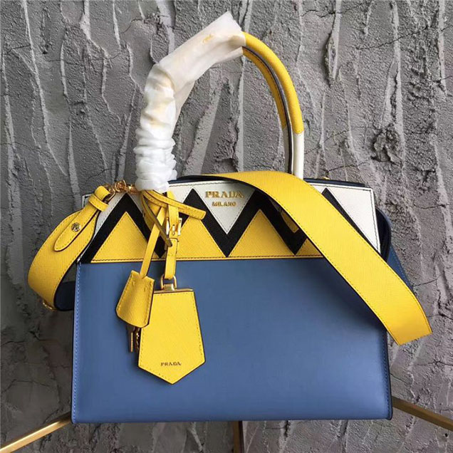 Prada Paradigme Saffiano 30cm Bag 1BA103 Calfskin Leather Fall Winter 2017 Bag Collection Astral Blue Sunny Yellow