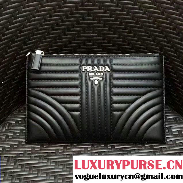 Prada Diagramme Leather Pouch 2NG005 Black 2017 (GYF-7120912 )