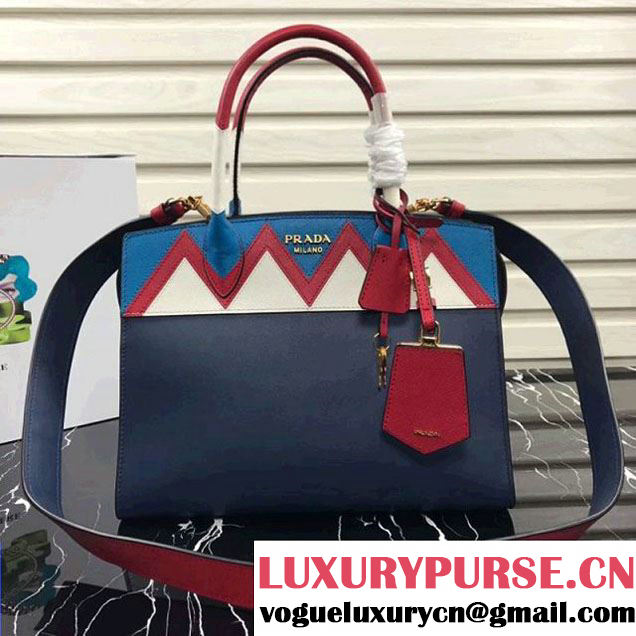 Prada Esplanade Saffiano and Calf Leather Bag With Embellishments 1BA046 Navy Blue 2017 (XDPJ-8011723 )