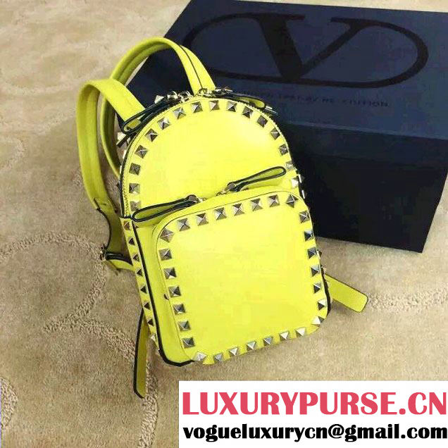Valentino Rockstud Small Backpack Yellow 2015