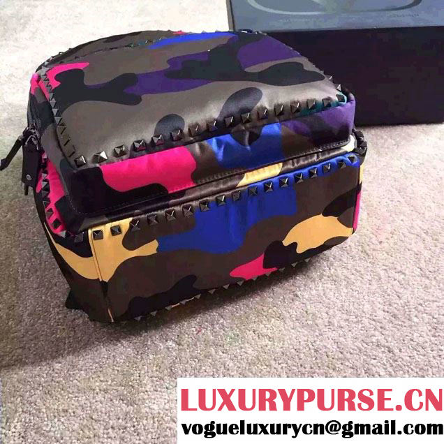 Valentino Noir Rockstud Psychedelic Camouflage Large Backpack 2015
