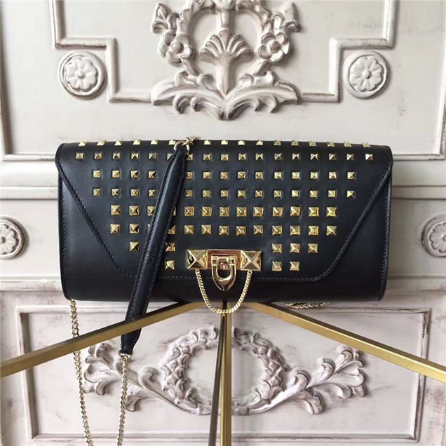 Valentino Garavani Demilune Studded Chain Clutch Bag Calfskin Leather Pre-Fall 2017 Bag Collection Black