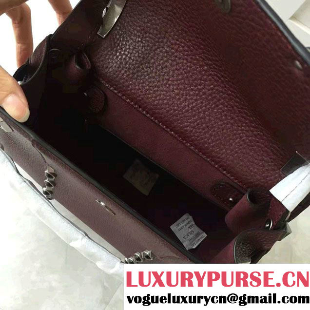Valentino My Rockstud Rolling Small Single Handle Bag Burgundy 2017