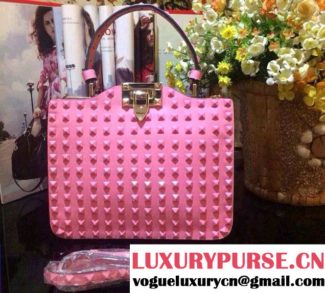 Valentino All Over Rockstud Tote Bag 01 Pink 2015