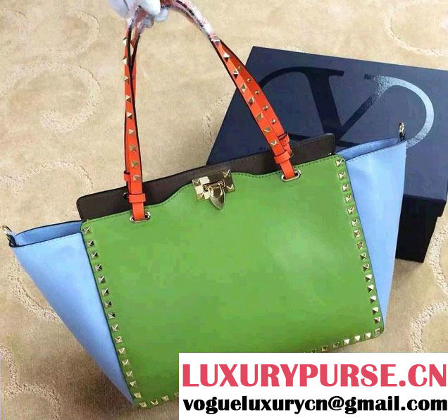 Valentino ColorBlock Leather Rockstud Tote Bag Green/Gray/Light Blue 2015