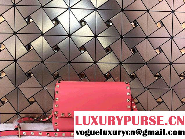 Valentino Rockstud Leather Crossbody Bag 00330 Rouge 2014