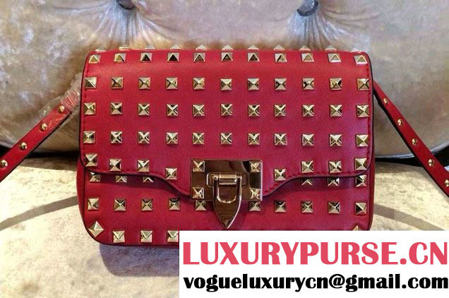 Valentino Smooth Leather Mini All Over Rockstud Crossbody Bag Red