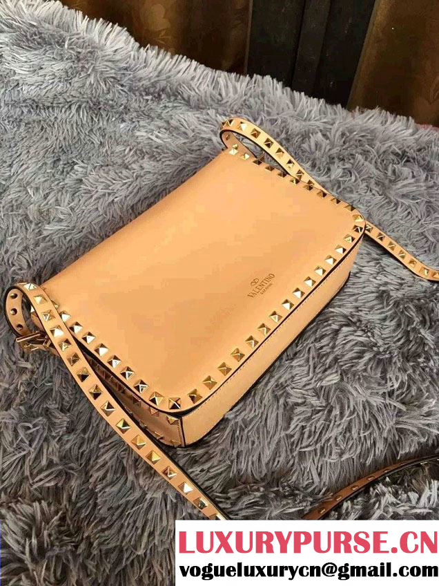 Valentino Rockstud Round Flap Shoulder Large Bag Apricot 2015/2016