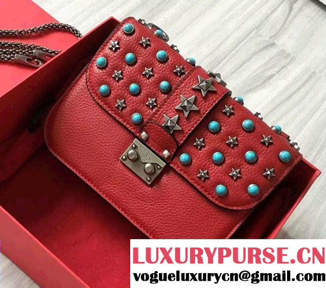 Valentino Starstudded Chain Shoulder Small Bag Red 2016