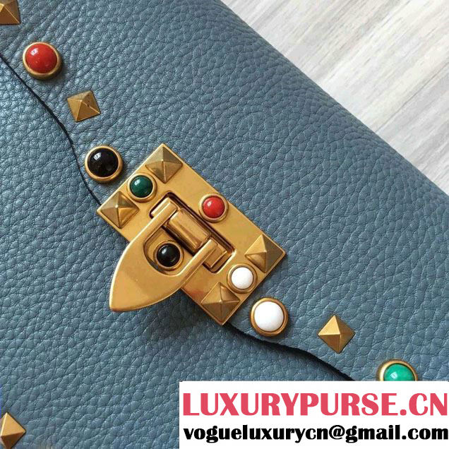 Valentino Multi-colored Cabochon Stones Rockstud Rolling Cross Body Shoulder Small Bag Baby Blue 2016