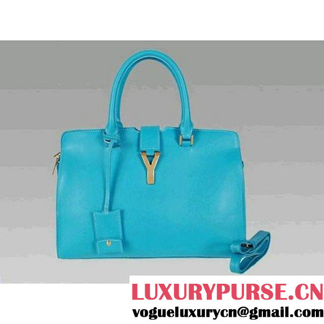 Luxury Yves Saint Laurent Blue Medium Leather Tote Bag 2118 (2118A ) (2118A )
