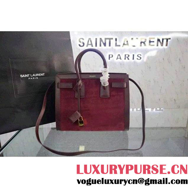 Saint Laurent Classic small Sac De Jour Bag in Red Calfskin and Suede (JD-051237 )