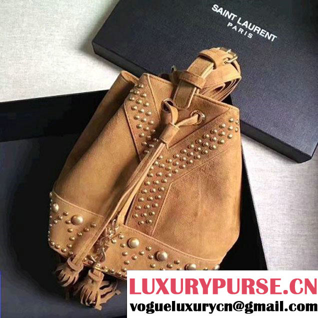 Saint Laurent 454072 Small Y STUDS Bucket Bag in Brown Suede 2017 (1a130-7041460 )