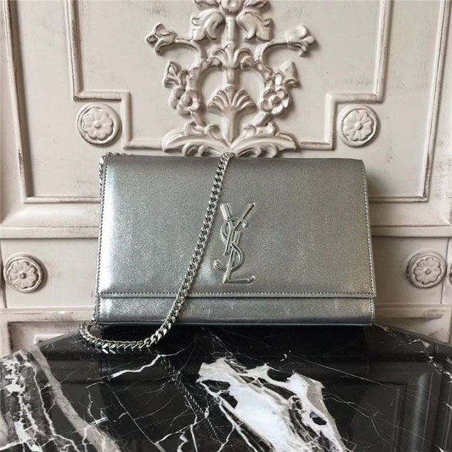 YSL Saint Laurent Monogram Kate Classic Medium 24cm Bag Calfskin Leather Fall Winter 2017 Collection Metallic Silver
