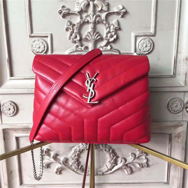 YSL Saint Laurent Loulou Monogram Y-Quilted Shoulder 23cm Chain Bag Calfskin Leather Fall Winter 2017 Collection Red
