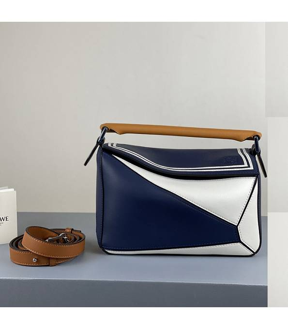 Loewe Dark Blue/White Original Calfskin Leather Small Puzzle Bag