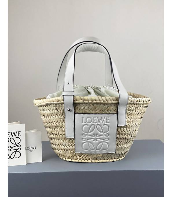 Loewe Palm Leaf With White Original Calfskin Leather Small Basket Bag