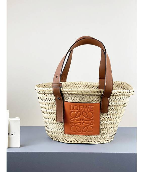 Loewe Palm Leaf With Orange/Brown Original Calfskin Leather Small Basket Bag