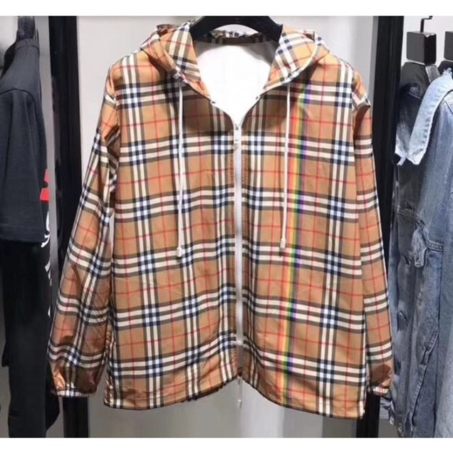 Burberry Rainbow Vintage Check Cagoule Windbreaker Jacket Sun Protection Hoodie Clothes 2018