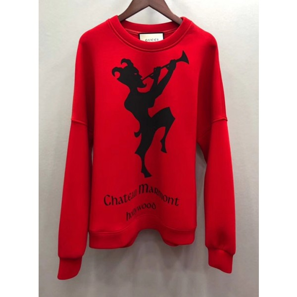 Gucci Space Cotton Sweatshirt with Chateau Marmont Print Red 2018