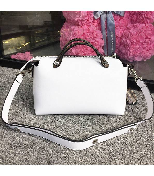 Fendi White Original Calfskin Leather With FF Handle 28cm By The Way Boston Bag