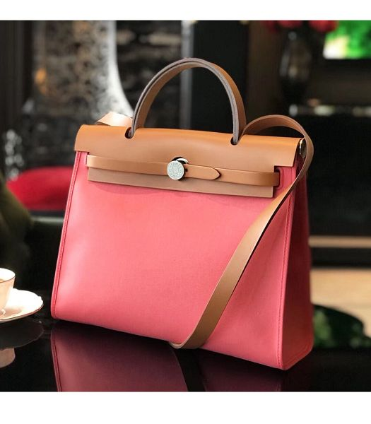 Hermes Herbag Pink Canvas With Light Brown Imported Leather 31 Zip Tote Handbag