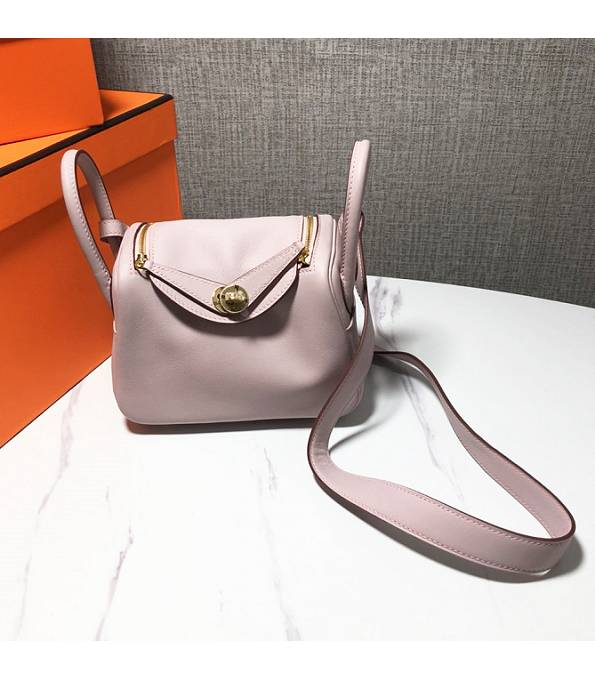 Hermes Mini Lindy 18cm Bag Nude Pink Original Swift Leather Golden Metal