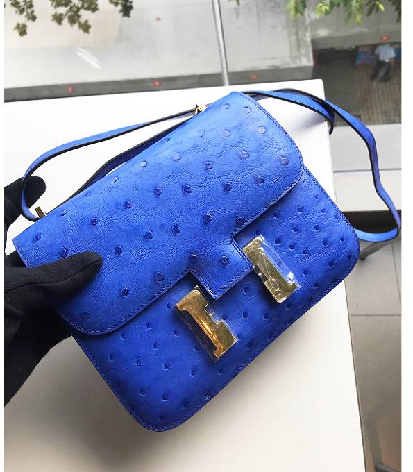Hermes Constance 18cm Mini Bag Hydra Blue Real Ostrich Leather Golden Metal