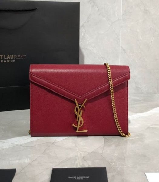 YSL Cassandra Red Original Caviar Leather Golden Metal Wallet On Chain