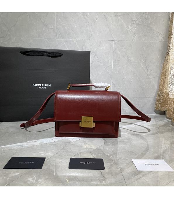 YSL Medium Bellechasse Red Original Real Leather Golden Metal 22cm Top Handle Crossbody Bag