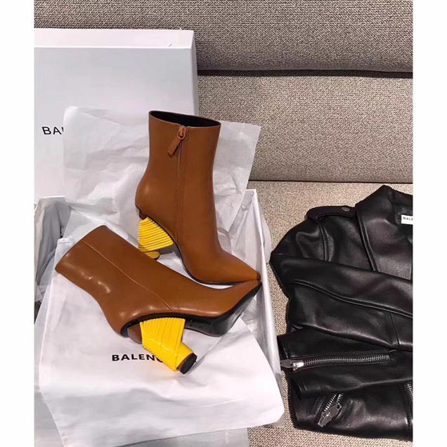 Balenciaga Bistrot Booties Calfskin Leather Fall Winter 2017 Collection Marron