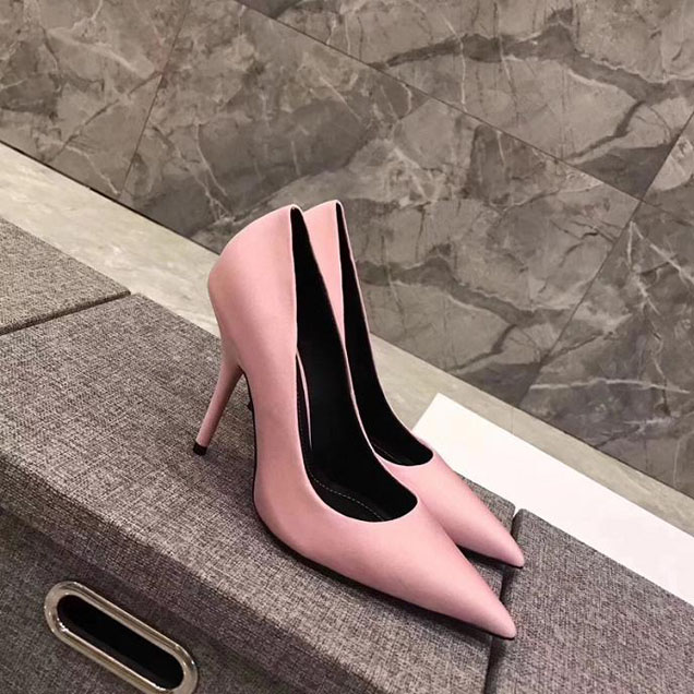 Balenciaga 110 Pointy Toe Knife Stiletto Pumps Calfskin Leather Fall Winter 2017 Collection Light Pink