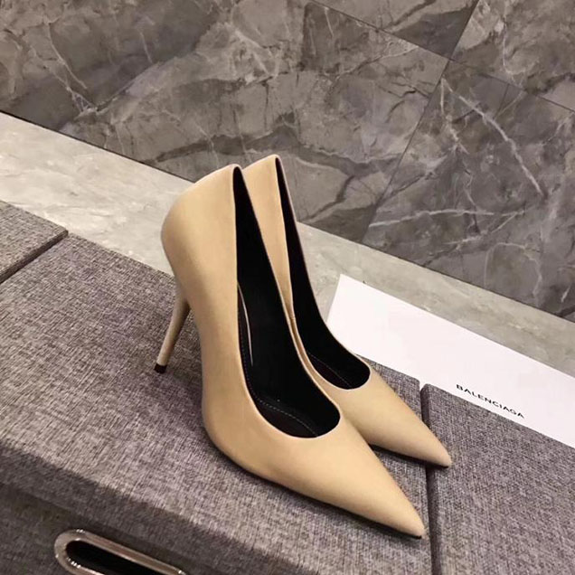 Balenciaga 110 Pointy Toe Knife Stiletto Pumps Calfskin Leather Fall Winter 2017 Collection Beige
