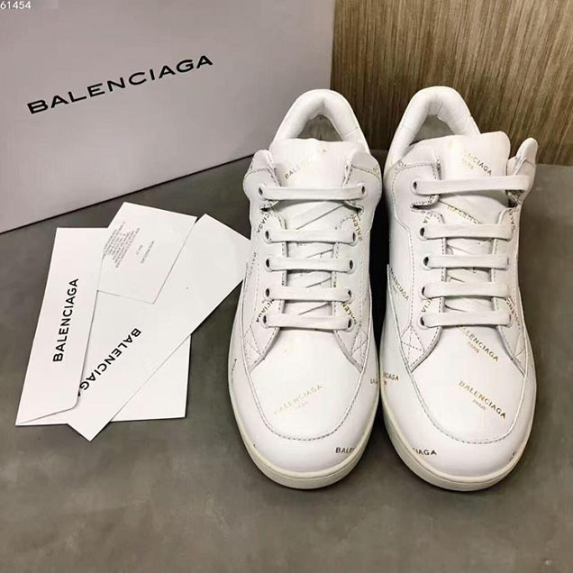 Balenciaga All Over Logo Base Sneakers Calfskin Leather Fall Winter 2017 Collection Off White
