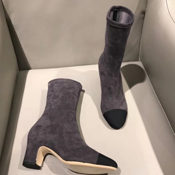 Chanel Suede & Satin Boots 7.5cm Heel Grey 2018 Collection