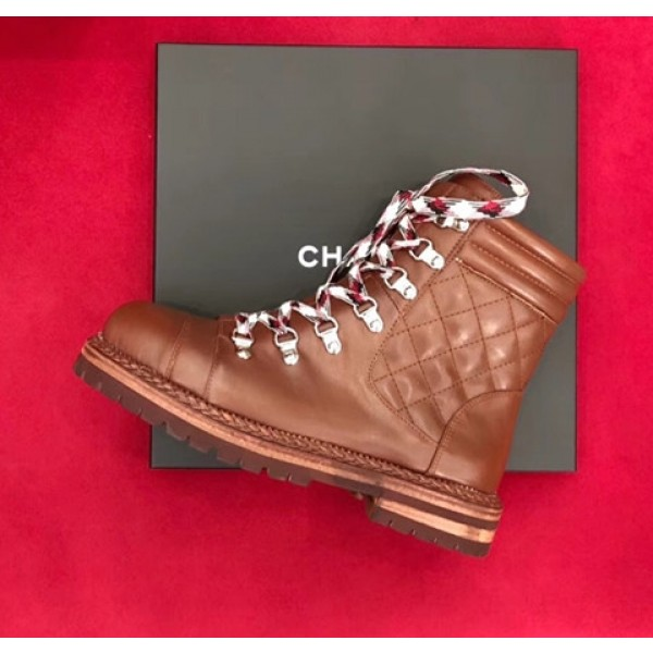 Chanel Calfskin Lace-Up Short Boots G34011 Brown 2018