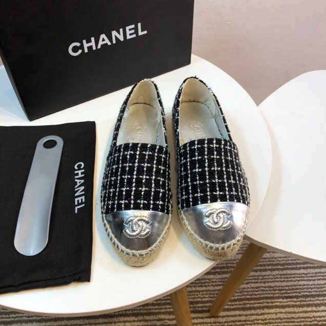 Chanel Tweed and Patent Lambskin Toe Espadrilles Spring Summer 2017 Collection Act 2 Black Silver