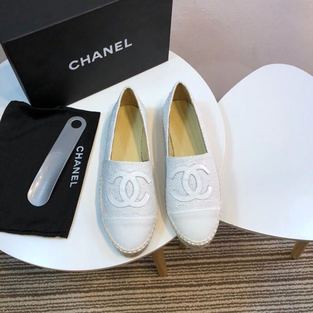 Chanel Tweed and Patent Leather CC Espadrilles Spring Summer 2017 Collection Act 2 White