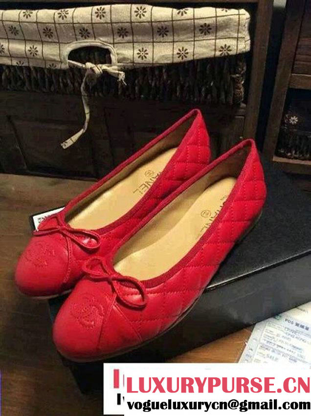 Chanel Classic Bow Leather Quilting Flats Red