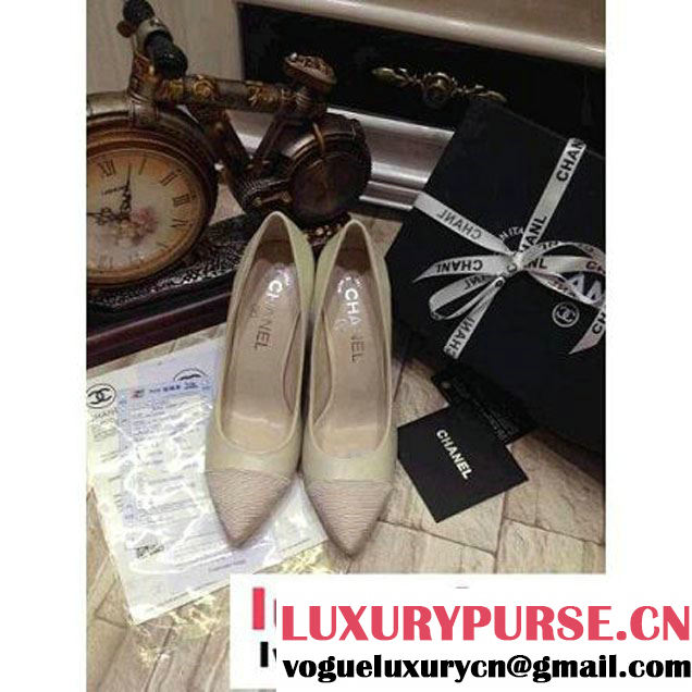 Chanel Beige Leather Pearl Pump (GD3040-1004 )