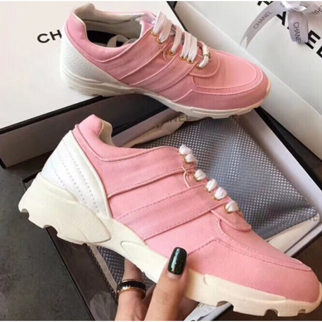 Chanel Calfskin Lace-Ups Sneakers Pink 2018