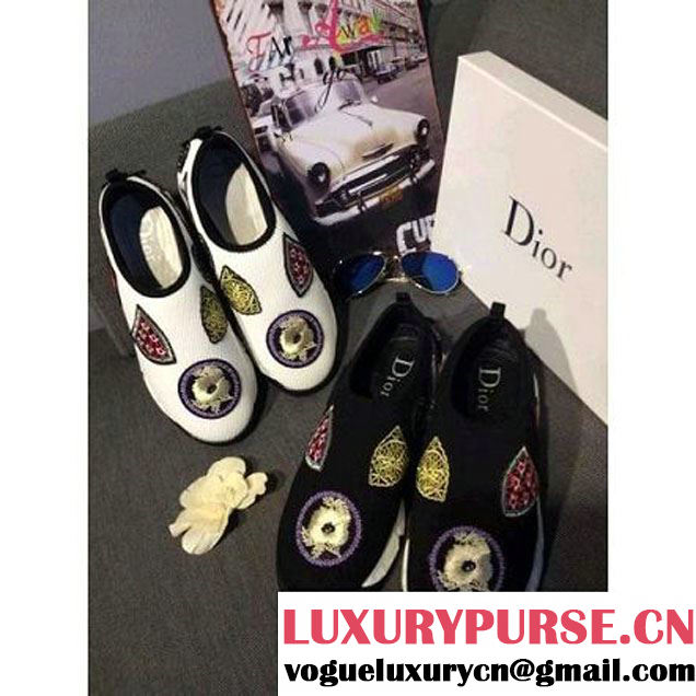 Dior 2015 Embroidered Sneaker in Black (GD2b020-041524 )