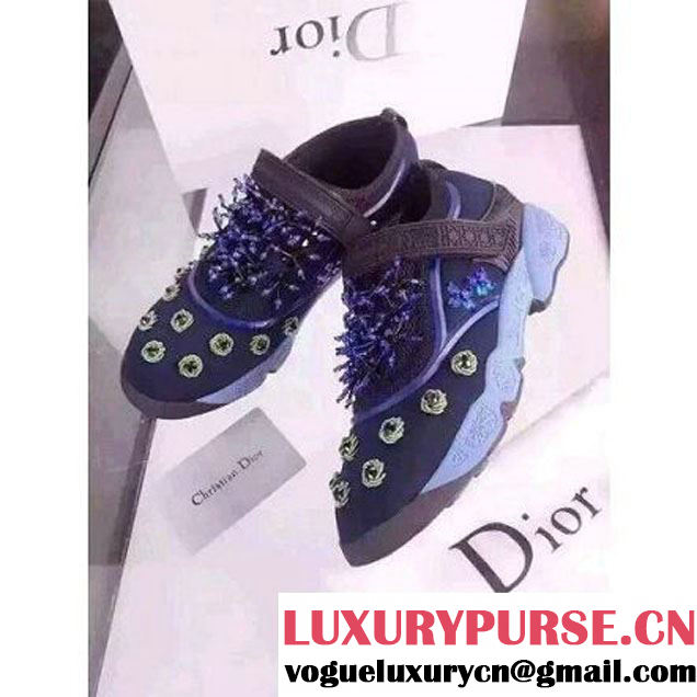 Dior Fusion Technical Fabrics Sneaker with Embrodery in Dark Blue 2015 (3a007-102134 )