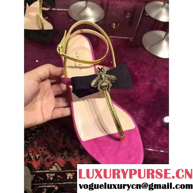 Gucci Calfskin and Suede Sandals Embellished with Bee and Bow Rosy 2016 (GD4029-6031753 )