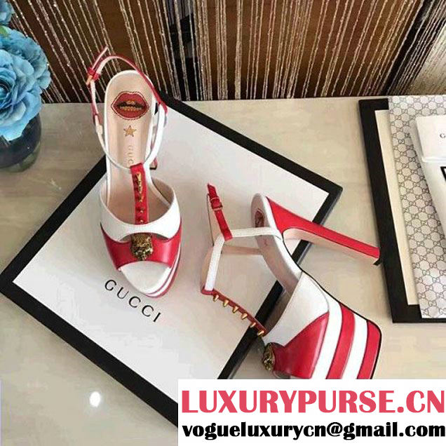 Gucci Leather Platform Sandal Whtie/Red 2017 (GD4007-6022141 )