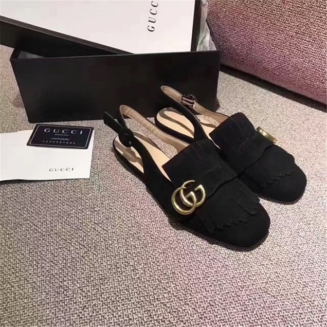 Gucci Marmont Fringed Suede Slingback Flats Calfskin Leather Fall Winter 2017 Collection Black